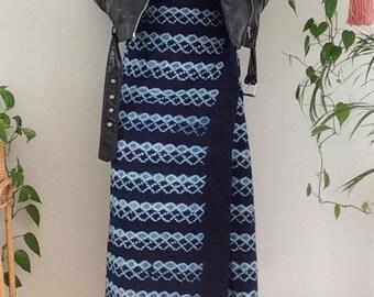 Vintage 70s Bohemian Boho Skirt Cotton Woven African Indigo Mudcloth Wrap Skirt 1970s Blue High-Waisted Skirt Midi Skirt Small XS