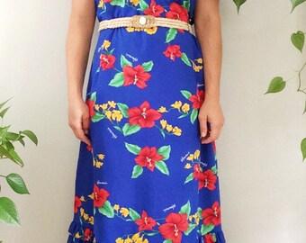Vintage 1970s 70s Boho Maxi Dress/Hawaiian Floral Dress/Hibiscus Print Dress/Bohemian Floral Dress/Vintage Tropical Dress/Vintage MUMU