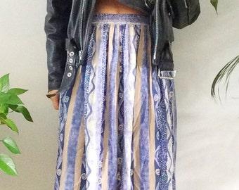 Vintage 80s Skirt Blue Abstract  Midi Skirt 1980s Skirt Knee Length Skirt Mod New Wave High Waisted Skirt M L Large