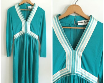 Vintage 1970s /Teal Victor Costa Dress/Ombre Detail/Studio 54/Disco Cocktail/Vintage Cocktail Dress/Turquoise/1960s/