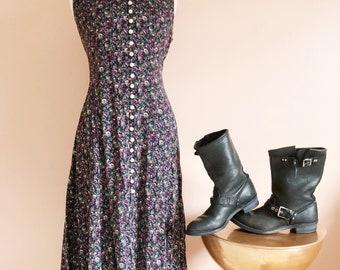 Vintage 90s floral button down dress/tea length dress/grunge dress