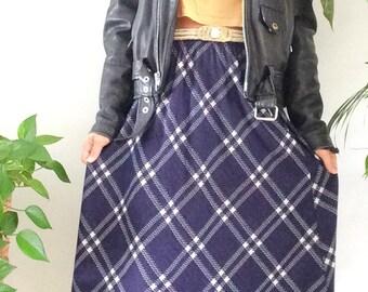 Vintage 80s Skirt Blue Plaid Print Cathy Daniels Midi Skirt 1980s Skirt Knee Length Skirt Mod Skirt Plaid Fall Skirt M L Large XL