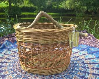Willow basket with bent hazel stick handle
