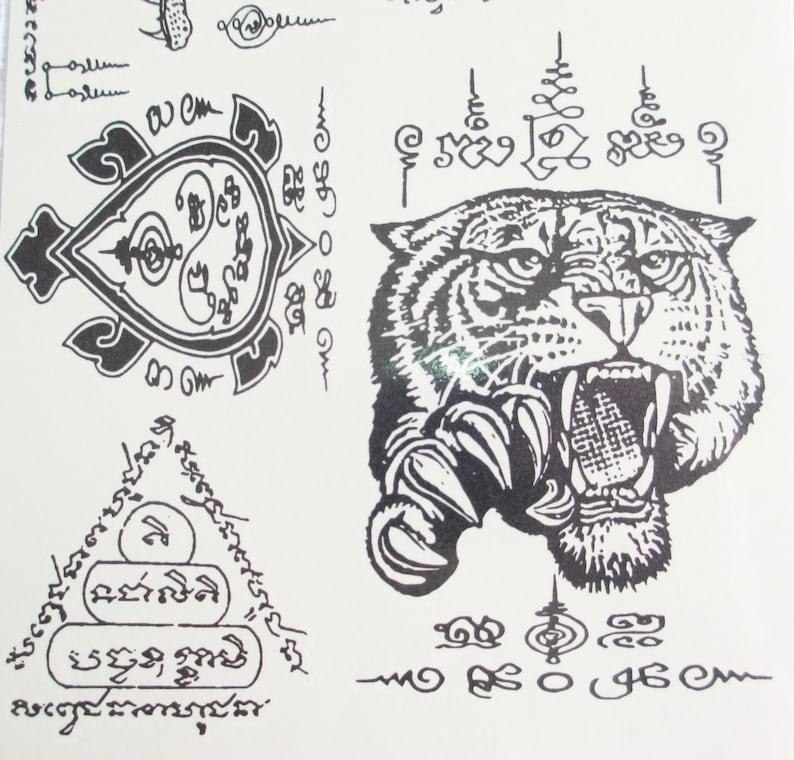 0788ef366 Temporary Body Art Thai Tattoos Stickers Crocodile Tiger   Etsy