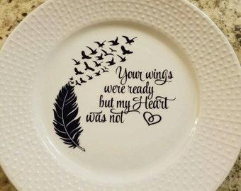 Decorative plate, Sympathy, memory, 10 inch,in memory of, condolences remembrance