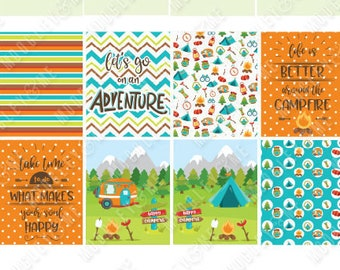 Camping Stickers Summer Stickers for use with ERIN CONDREN LifePlanner K014 Kit Summertickers Happy Camper Mini Kit