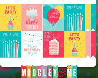 Birthday Planner Sticker Sheet for your Horizontal or Vertical Erin Condren Life Planner, Happy Planner, or any monthly planner!