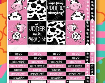 Cow Planner Sticker Weekly Kit for your Erin Condren Life Planner, Happy Planner, or any monthly planner!