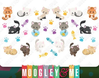 Kawaii- Cats- Kittens- Planner Sticker Sheet for your Erin Condren Life Planner, Happy Planner, or any personal planner!