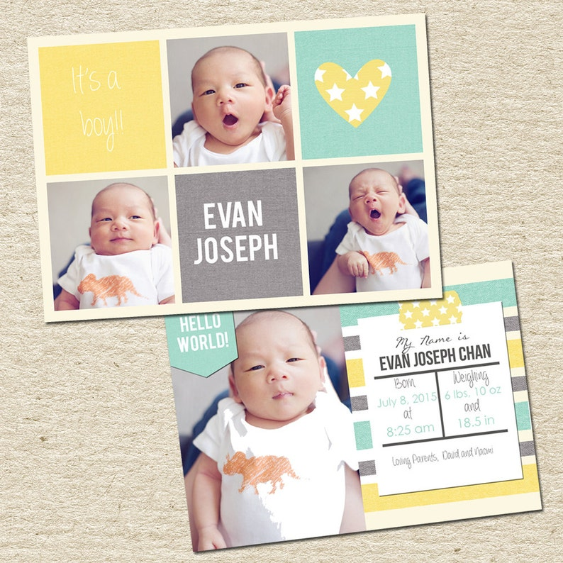 Unisex Birth Announcement Template for photographers 5x7 Card Instant Download
