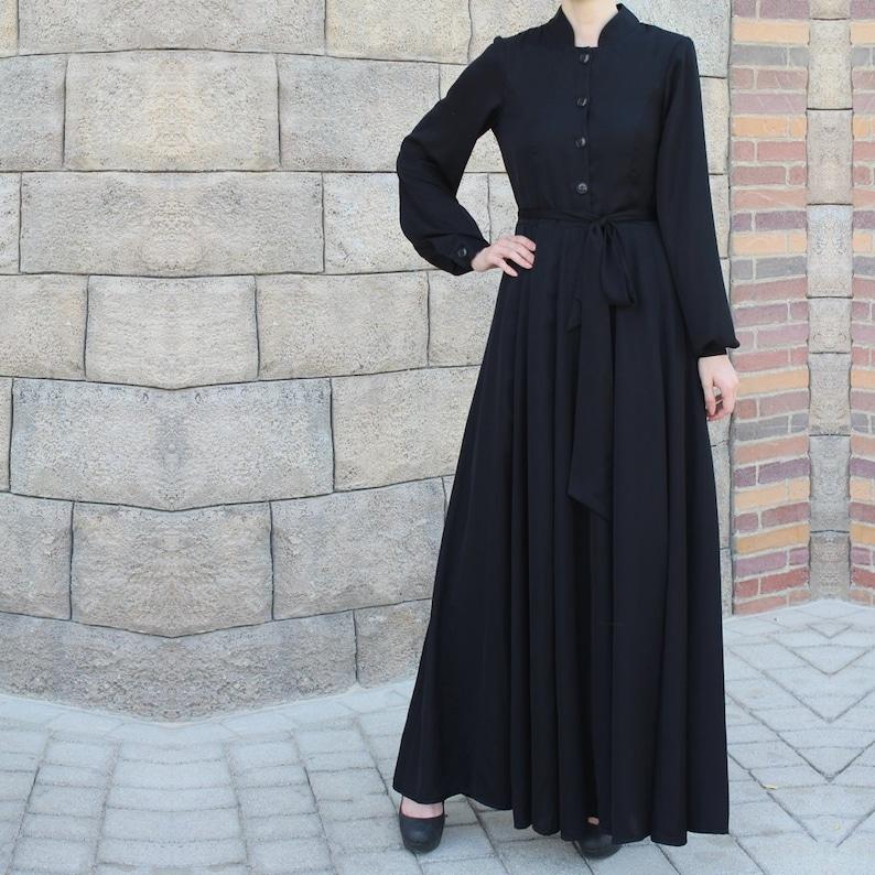 Black Collared Maxi Dress with Belt / Abaya Dress / Plus Size | Etsy