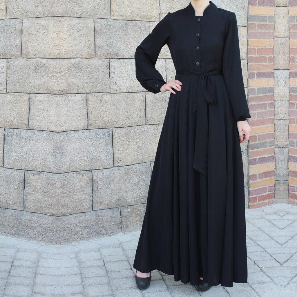 Black Collared Maxi Dress with Belt / Abaya Dress / Plus Size   Etsy