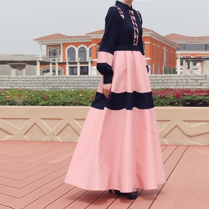 Daisy Abaya Dress – Navy Blue Pink / Plus Size Floor Length Maxi Dress /  Navy Blue Pink Long Sleeve Dress / Modest Dress / Church Dress