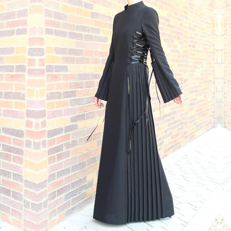 Black Lace Up Maxi Dress / Plus Size Maxi Dress / Abaya Dress / Collared  Maxi Dress / Long Sleeve Maxi Dress with Pleats / Modest Dress