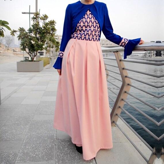 Braided Occasion Dress with Crystals - Blue/Pink - Abaya Modest Dress, Plus  Size Maxi Dress, Abaya Maxi Dress, Modest Dress, Dubai Abaya