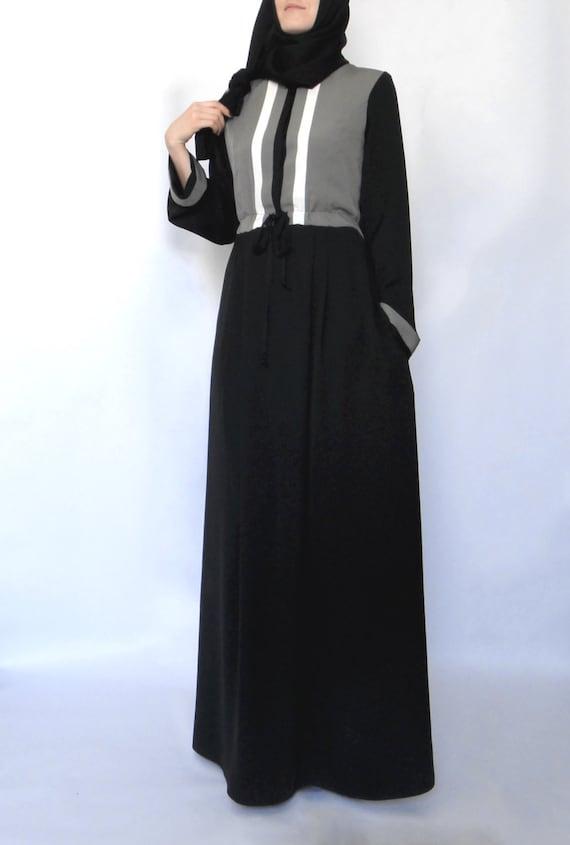 Hoodie Maxi Dress Grey And Black Abaya Dress Dubai Abaya Etsy