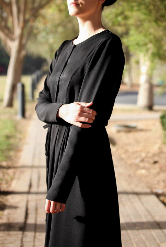 Enkel Black Maxi Abaya Dress Maxi Dress with Long Sleeves/ Plus Size Modest  Dress / Long Black Church Dress / Trendy Black Dress