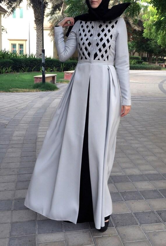 Criss-Cross Abaya Gown Light Grey / Dubai Abaya / Abaya | Etsy