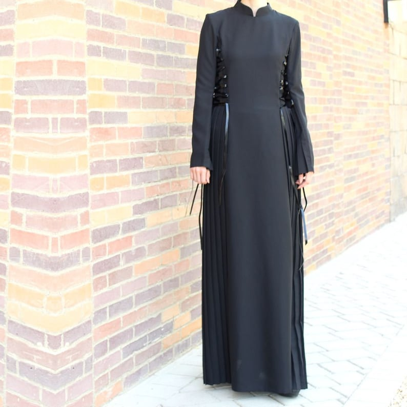 Black Lace Up Maxi Dress  Plus Size Maxi Dress  Abaya Dress  Collared Maxi Dress  Long Sleeve Maxi Dress with Pleats  Modest Dress