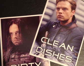 Winter Soldier Reversible Magnetic Dishwasher Sign | Bucky Barnes Geek Kitchen | Clean Dirty Dishwasher Magnet |Marvel's Winter Soldier