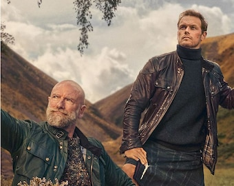 """Men in Kilts Laminated Reversible Magnetic Dishwasher Sign Featuring """"Clean"""" and """"Dirty"""" Sam Heughan &  Graham McTavish"""