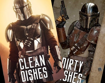 "Mandalorian Reversible Magnetic Dishwasher Sign | Geek Kitchen | Clean Dirty Dishwasher | ""Clean"" and ""Dirty"" Mando"