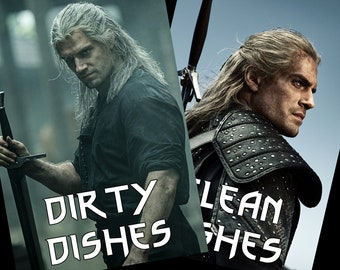 The Witcher Reversible Dishwasher Magnet |Geralt of Rivia | Geek Kitchen | Clean Dirty Magnet | Henry Cavill