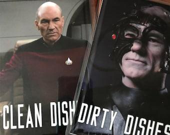 "Picard Star Trek Next Generation Laminated Reversible Magnetic Dishwasher Sign |Clean Dirty Dishwasher | ""Clean""Picard/""Dirty"" Borg Picard"