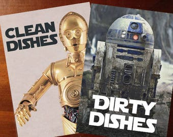"""Star Wars Laminated Reversible Magnetic Dishwasher Sign 