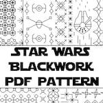 Star Wars Blackwork Embroidery Pattern | Digital Cross-Stitch PDF Pattern | Nerdy Geeky Blackwork Pattern | Instant Download