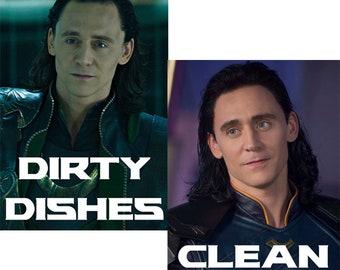 Loki Reversible Dishwasher Magnet | Geek Nerd Kitchen | Clean Dirty Magnetic Dishwasher Sign| Tom Hiddleston