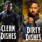 "Black Panther Reversible Magnetic Dishwasher Sign | Geek Kitchen | Clean Dirty Dishwasher Magnet | ""Clean"" ""Dirty"" Marvel's Black Panther"