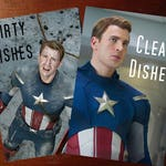 "Captain America Reversible Magnetic Dishwasher Sign | Geek Kitchen | Clean Dirty Dishwasher Magnet | ""Clean"" ""Dirty"" Marvel's Capt America"