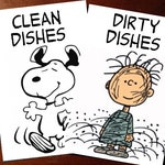 Peanuts Reversible Magnetic Dishwasher Sign | Geek Kitchen |  Clean Dirty Dishwasher Magnet /Snoopy Clean - Pigpen Dirty