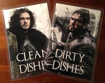 Jon Snow   Game of Thrones Reversible Dishwasher Magnet   Geek Kitchen   Clean Dirty Magnet   Game of Thrones