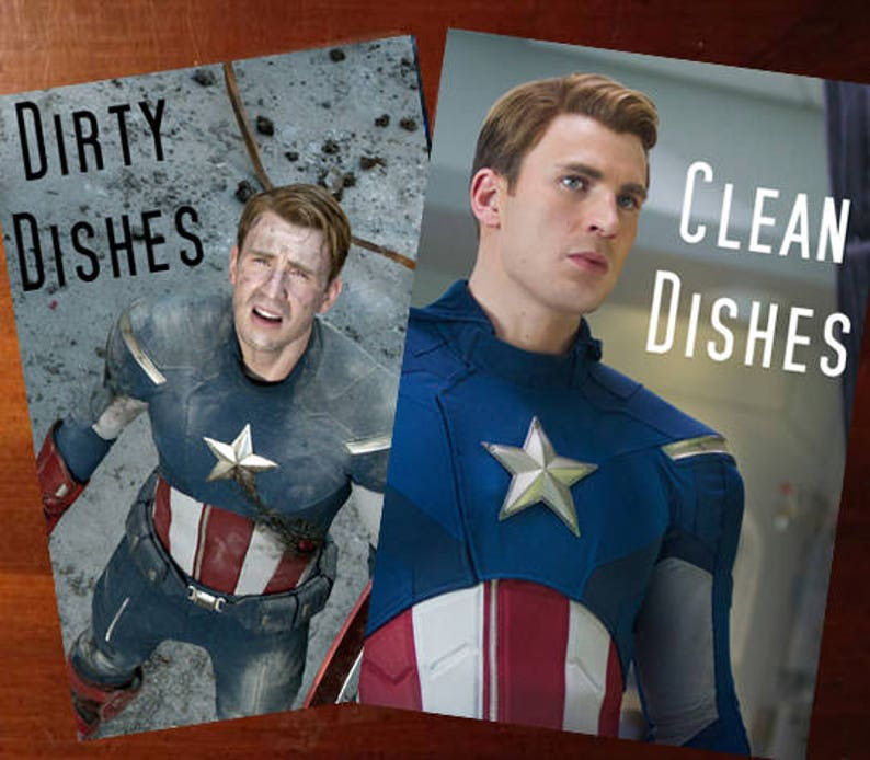 Captain America Reversible Magnetic Dishwasher Sign  Geek image 0