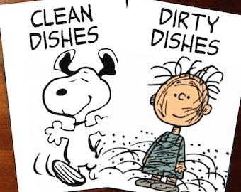 Peanuts Snoopy & Pigpen Reversible Magnetic Dishwasher Sign | Geek Kitchen |  Clean Dirty Dishwasher Magnet /Snoopy Clean - Pigpen Dirty