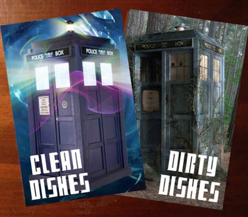 Doctor Who Tardis Reversible Magnetic Dishwasher Sign  Geek image 0