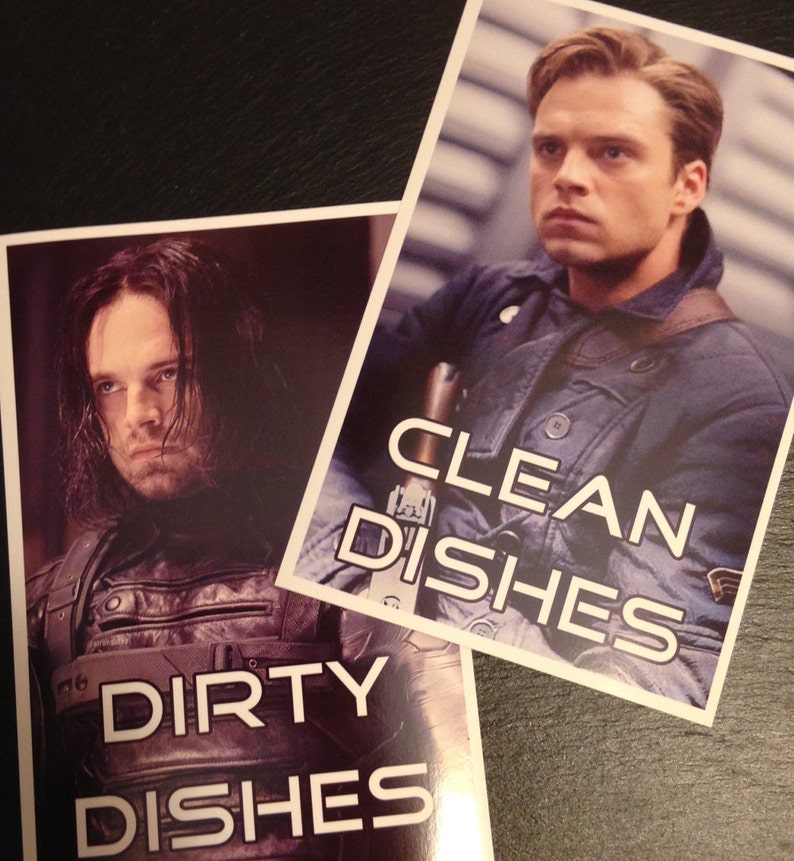 Winter Soldier Reversible Magnetic Dishwasher Sign  Bucky image 0