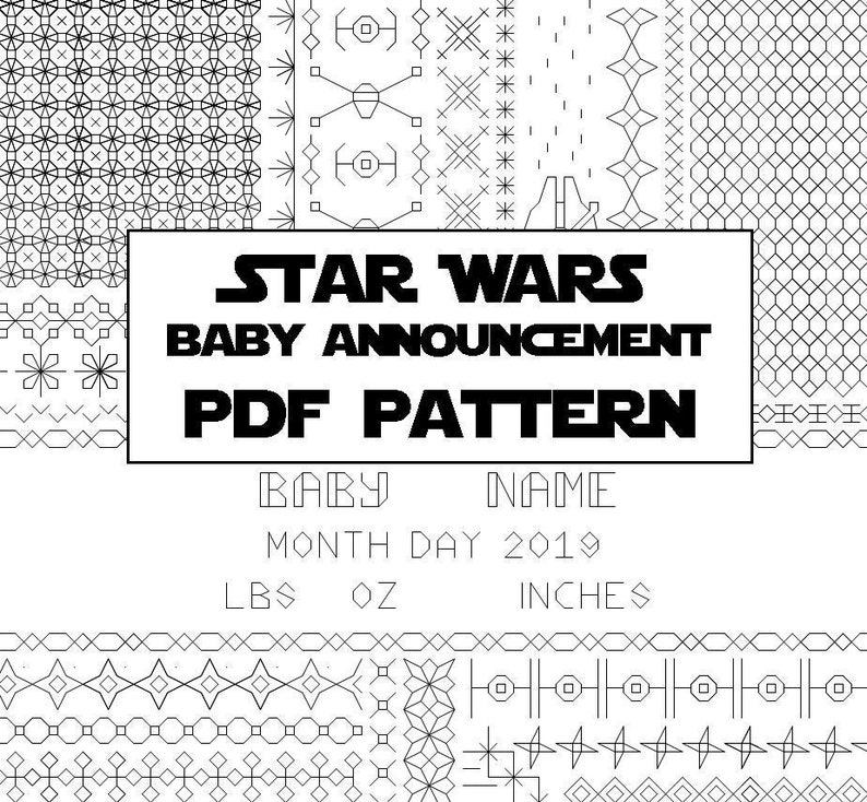 Star Wars Baby Announcement Blackwork Embroidery Pattern  image 0