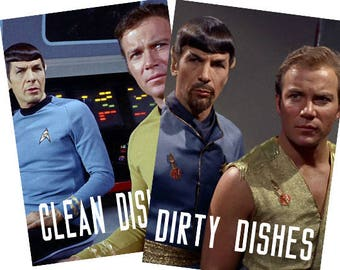 "Star Trek Laminated Reversible Magnetic Dishwasher Sign | Geek Kitchen | Clean Dirty Dishwasher | ""Clean""Spock/Kirk  and ""Dirty""Spock/Kirk"