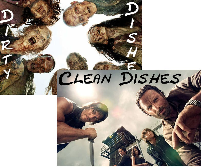 Walking Dead Reversible Magnetic Dishwasher Sign  Geek image 0