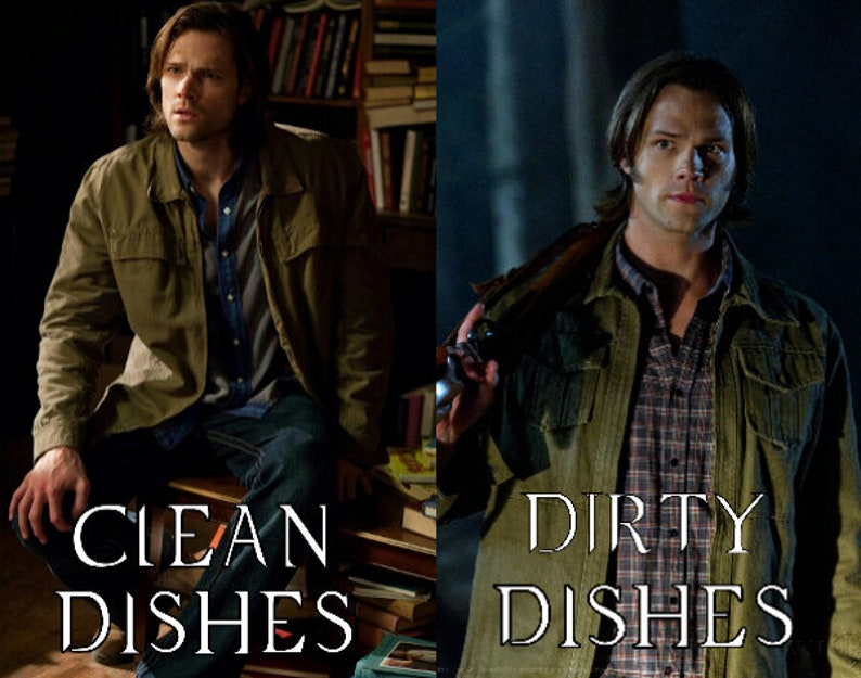 Supernatural Clean Dirty Dishwasher Magnet Sam Winchester  image 0