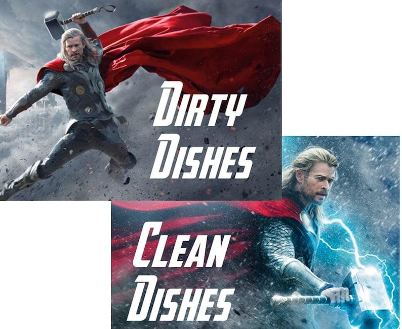 Thor Reversible Magnetic Dishwasher Sign  Geek Kitchen  image 0