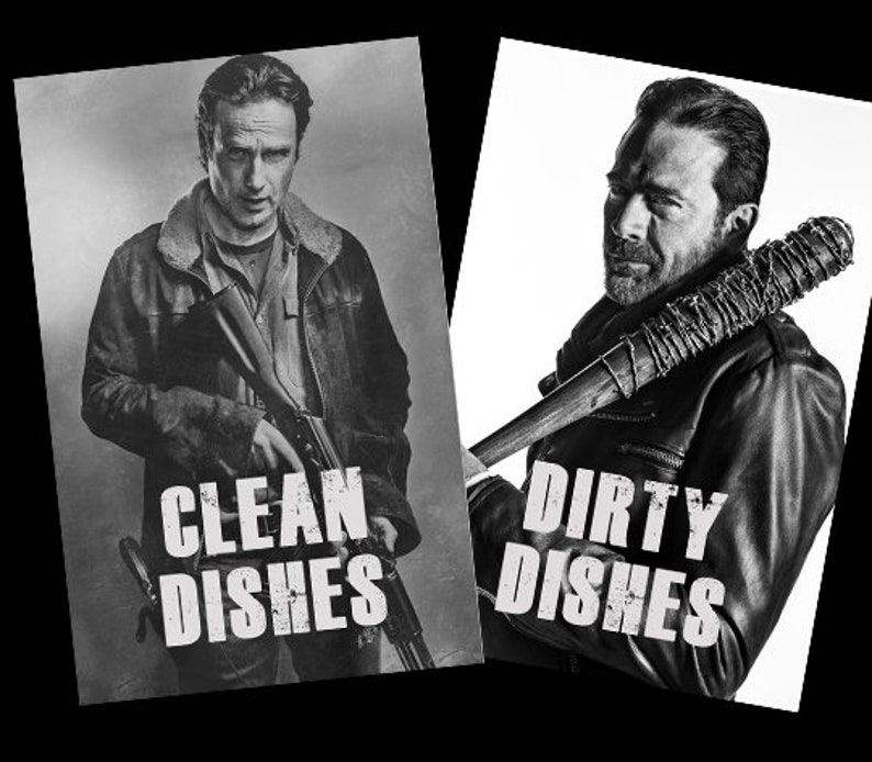 Walking Dead Reversible Magnetic Dishwasher Sign  Clean Dirty image 0