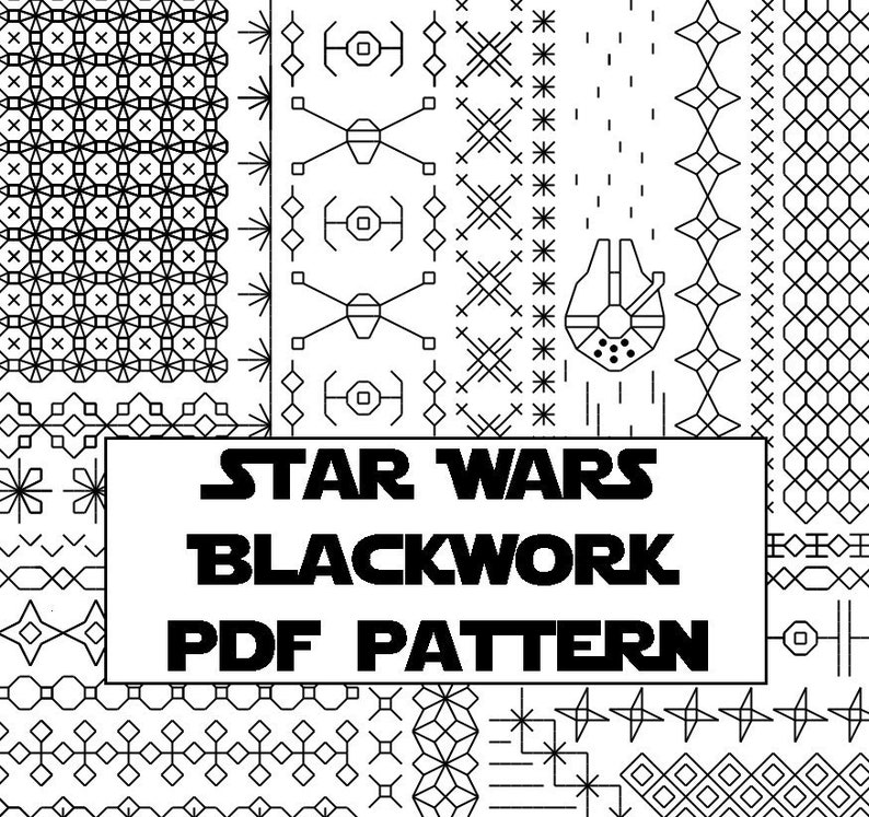 Star Wars Blackwork Embroidery Pattern  Digital Cross-Stitch image 0