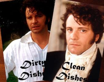 Colin Firth | Mr. Darcy Reversible Dishwasher Magnet | Geek Kitchen | Clean Dirty  Magnet | Jane Austin | Pride and Prejudice