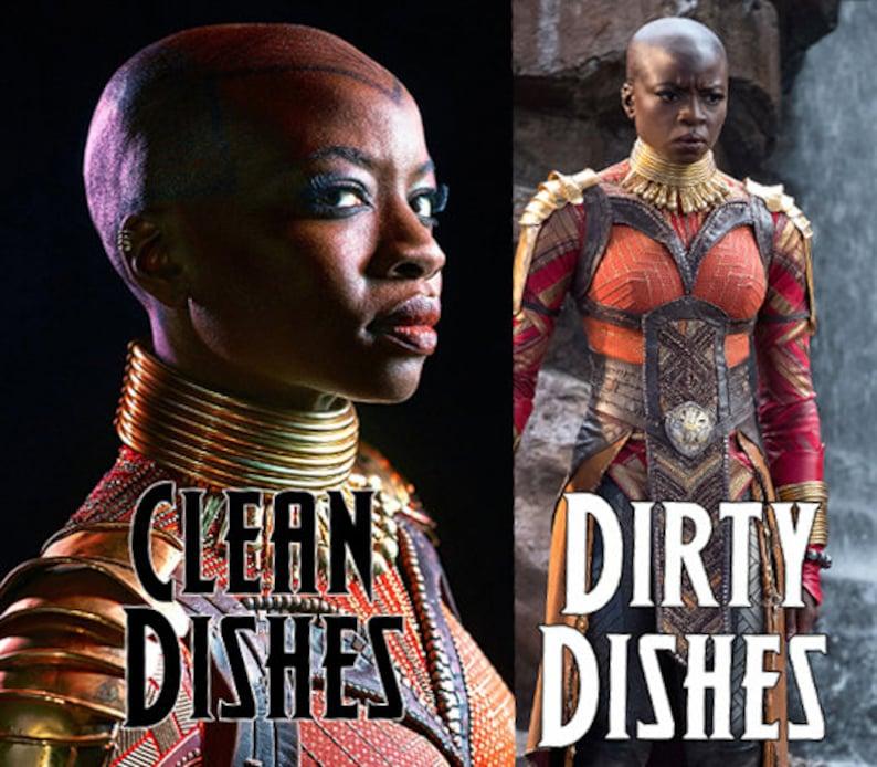 Okoye Black Panther Reversible Magnetic Dishwasher Sign  image 0