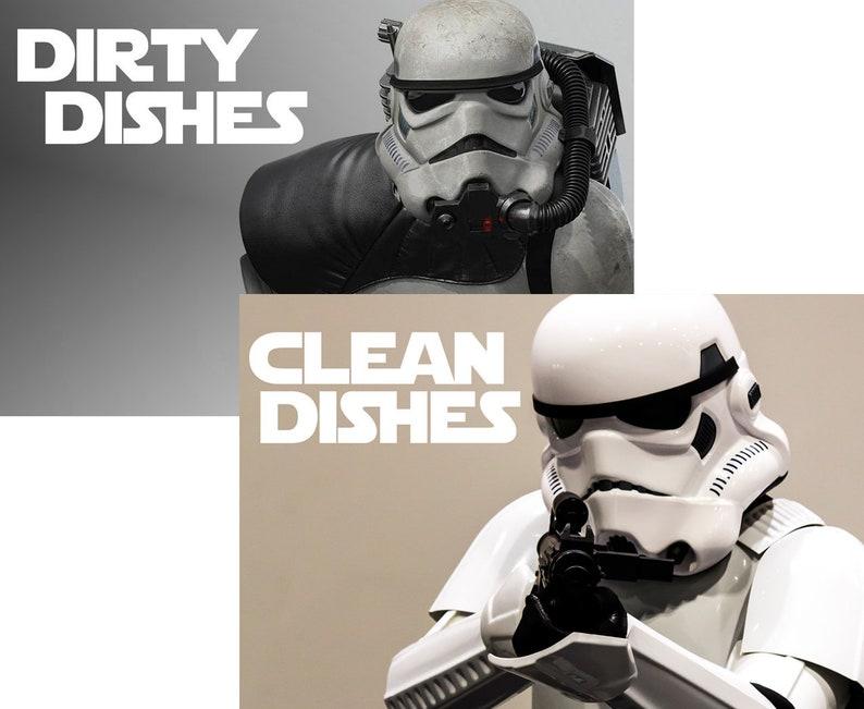 Star Wars Stormtrooper Reversible Magnetic Dishwasher Sign  image 0