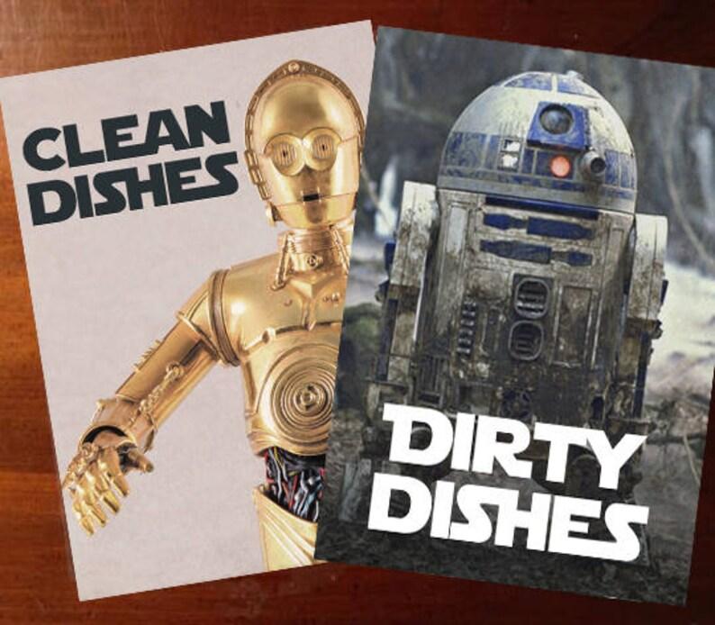 Star Wars Laminated Reversible Magnetic Dishwasher Sign  Geek image 0
